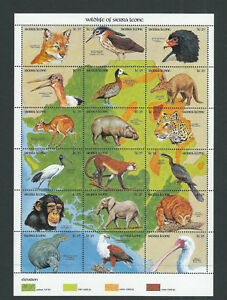 SIERRA LEONE 1990 WILDLIFE souvenir sheet of 18 VF MNH