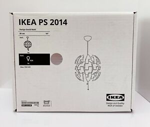 """IKEA PS 2014 Ceiling Pendant Lamp Modern 14"""" White Silver 003.114.98 - NEW"""