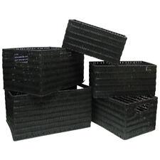 Storage Basket Set 5-Different Sizes Rectangle Plastic Wicker in Black Finish