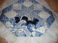 Set (4) Country French FARMHOUSE Blue Quilted Placemats, Napkins & Rings     279