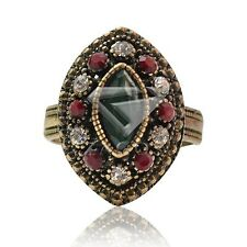 Oval Gemstone Plated Jewelry Alloy Antique Copper Charm Vintage Rings 23x16mm KW