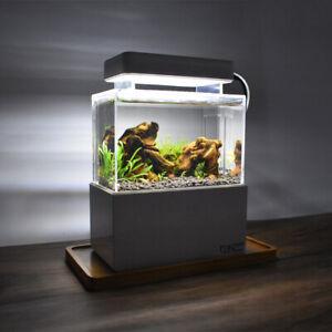Mini Betta Fish Tank Desktop Aquaponic Aquarium Water Filter LED Light Air Pump