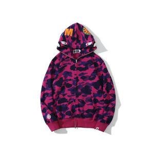 BAPE/A/Bathing Ape Unisex Shark Head Sweatshirt Camouflage Full Zip Hoodies Coat