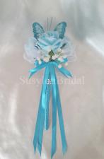 BLUE Aqua Wedding White Gypsophila Butterfly Wand Flower Girl Bridesmaid Satin