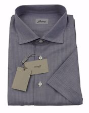 Brioni Mens H/S Dark Grey Stripe Linen Handmade Shirt SZ XXL / EU 43 - UK 17