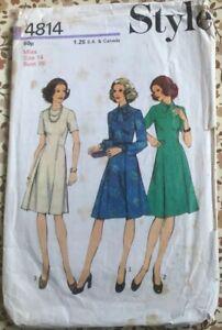 VTG 60s 70s Style Pattern 4814 Dress With Waistline Seam Pleats Size 14 Bust 36