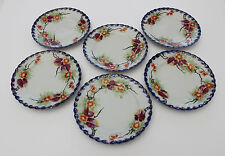 Antique Hand Painted Nippon Blue Gold Gilt Floral China TE-Oh Scalloped Plates 6