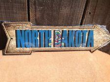 "North Dakota State Flag This Way To Arrow Sign Novelty Metal 17"" x 5"""