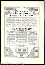 1919 EDISON PHONOGRAPH advertisement, Period Furniture Cabinets
