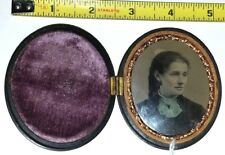 old Tintype Lady in oval Union Case photo