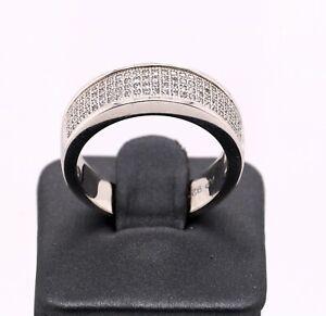 Real 925 Sterling Silver Fancy Men's Four Rows Cubic Zircon (CZ) Ring