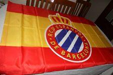 BANDERA DE FUTBOL REAL CLUB DEPORTIVO ESPANYOL BARCELONA CON BANDERA ESPAÑA