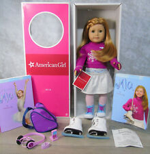 "American Girl 18"" MIA DOLL + ICE SKATES & ACCESSORIES Red Hair Hazel Eyes AG BOX"