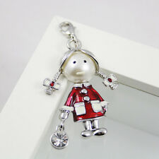 Little Girl in Red White Enamel European Bracelet Charm Pendant clasp Charm