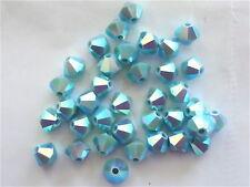 24 Turquoise AB2X Swarovski Beads Bicone 5328 4mm