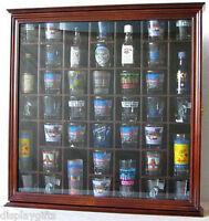 41 Shot Glass Display Case Rack Holder Wall Cabinet, Shadow Box SC03-WALN