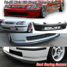 SIR Style Front Bumper Cover + JDM Molding + Front Lip Fit 96-98 Civic 2/3/4dr