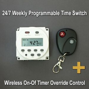 12Vdc 24/7 Programmable Time Switch with Wireless Control up to 100m/1000m/3000m