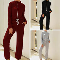 Womens Casual Long Sleeve Zipper Drawstring Jumpsuit Autumn Stand Collar Rompers