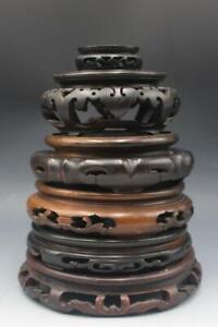 Antique Group of 6 Asian Teak & Rosewood Vase or Bowl Stands Hand Carved