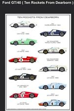 Ford GT-40 History Ten Rockets From Dearborn Car Poster! WOW!!!