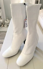 Ladies Zara Woman Leather Ankle Boots In White Size UK5 BNIB RRP£119. LAST PAIR