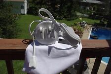Alexander Wang White Leather Canteen Runway Bag Round w/ Lock Cargo Style RARE!