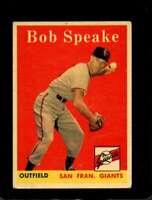 1958 TOPPS #437 BOB SPEAKE VG GIANTS NICELY CENTERED  *X00880