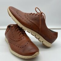 Cole Haan Grand OS Mens Zerogrand Oxford Shoes Brown Lace Up Wingtip Low Top 9 B