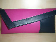 FUCHSIA & NAVY BLUE Faux leather clutch. LOVINGLY Handmade in the UK.