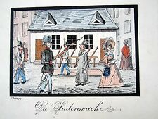 """""""Die Fudenvache"""" Soldiers & local people walking in a town by C. Becker"""