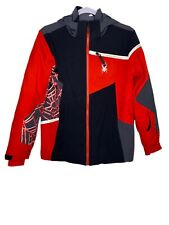 Spyder Red Black Zip Hooded Insulated Coat Jacket Thumb Holes Boys 16 Read Descr
