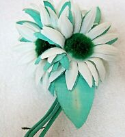 Vintage Millinery Hat Flower Cosage Mint & White w Green Daisies & Leaves