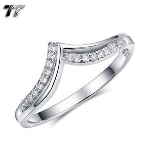 TT RHODIUM 925 Sterling Silver Engagement Wedding Ring (RW52) NEW