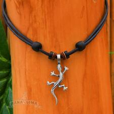 Leder Kette Gecko Eidechse Salamanda Echse Anhänger Damenkette Frau Mode Schmuck