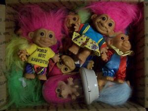 Grab Bag Lot of Troll Dolls #5-17 Dolls of Various Eras and Brands