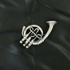 Sparkling Studded Pin Brooch New Gray Metal French Horn Music Instrument