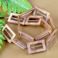 Natural MOP Shell Tawny Hollow Rectangle Loose Bead Fit Jewelry Making DIY