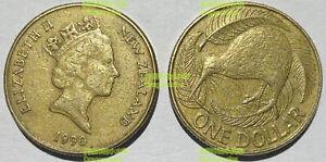 New Zealand 1 Dollar Kiwi Bird  23mm brass coin