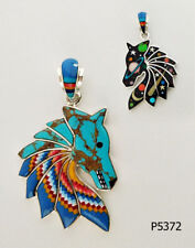 Reversible Genuine Turquoise Celestial Opal Inlay .925 Silver Horse Head Pendant