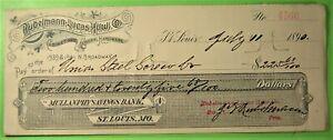 Rubelmann-Lucas Hdw. Co. bank check on Mullanphy Savings Bank St. Louis, Mo.1890