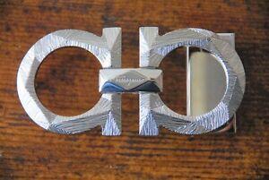 Authentic SALVATORE FERRAGAMO Gancini Silver Men' s Belt Buckle Accessory Italy