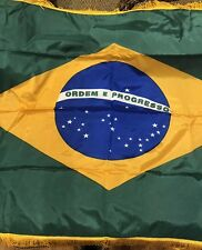 Brazil 🇧🇷 Flag Nylon 3x5 ft.Fringed Indoor/Parade Colonial Ny-Glo Brazil  NIB