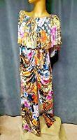 VENUS Open Shoulder Pelerine Cape Maxi Dress Floral Architecture Live Print 2 pc