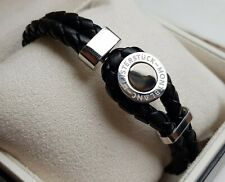 """Montblanc Meisterstuck 8"""" Woven Leather & Stainless Bracelet With Black Onyx"""