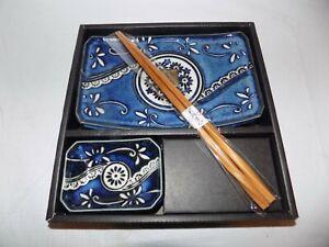 4-Piece Sushi Set Japanese Dinnerware Blue New