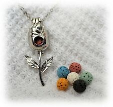 Beautiful Rose Stem Aromatherapy Essential Oil Pendant with 6 lava stones!