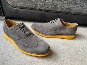 Cole Haan Zerogrand grey leather suede lightweight brogues, shoes Uk size 12