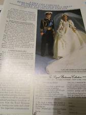Royal Britannia Prince Charles Princess Diana Bride Doll Ad  ~Advertisment ONLY