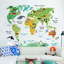 Children Wall Sticker Bedroom Kids Baby Room Educational World Map Classroom